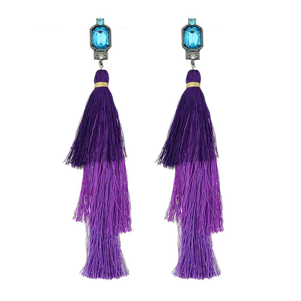 Chic Colorful Multi Layer Long Tassel Big Earrings