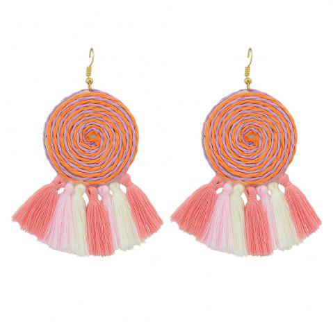 Affordable Candy Color Long Tassel Big Hanging Earrings
