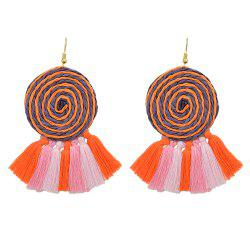 Candy Color Long Tassel Big Hanging Earrings -