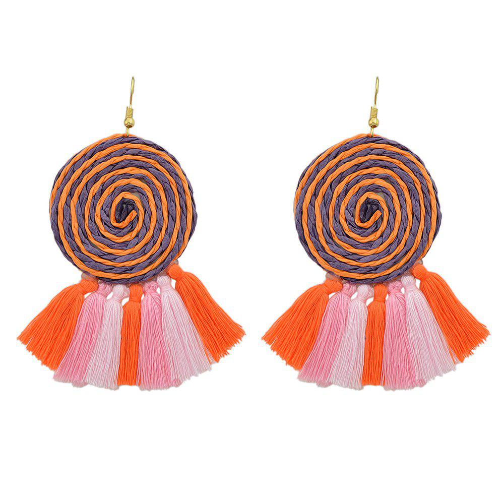 Discount Candy Color Long Tassel Big Hanging Earrings