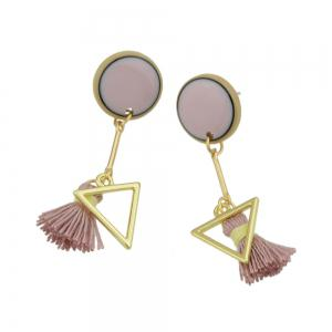 Pink Tassel and Triangle Earrings For Women -