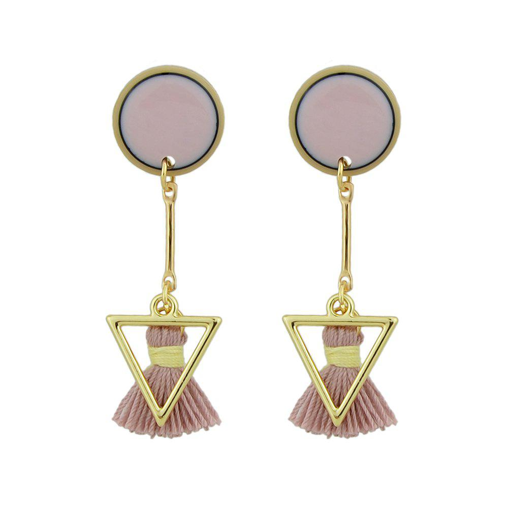 Store Pink Tassel and Triangle Earrings For Women