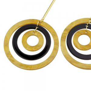Gold-color Long Earrings With Black Brown Circle -