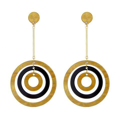 New Gold-color Long Earrings With Black Brown Circle