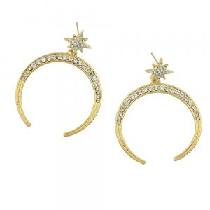 Rhinestone Geometric Star Circle Big Party Drop Earrings -