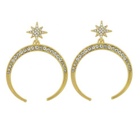 Affordable Rhinestone Geometric Star Circle Big Party Drop Earrings