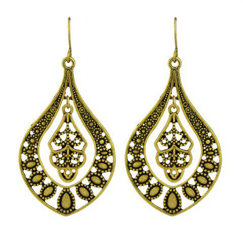 Latest Hollow Out Flower Statement Water Drop Hanging Earrings