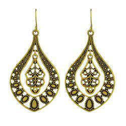 Hollow Out Flower Statement Water Drop Hanging Earrings -