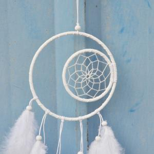 Creative White Double Feathered Dreamcatcher Hanging Decorations -