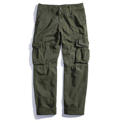 Unique Men's Loose Cotton Straight Barrel Multi Pocket Casual Wear Pants