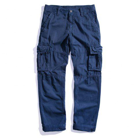 Online Men's Loose Cotton Straight Barrel Multi Pocket Casual Wear Pants