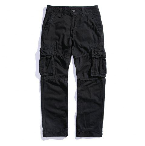 Sale Men's Loose Cotton Straight Barrel Multi Pocket Casual Wear Pants
