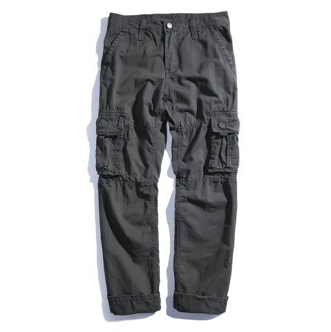 Buy Men's Loose Cotton Straight Barrel Multi Pocket Casual Wear Pants
