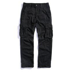 Men's Loose Cotton Straight Barrel Multi Pocket Casual Wear Pants -