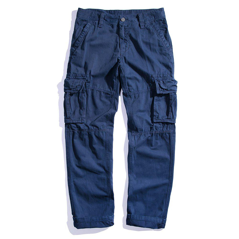 Chic Men's Loose Cotton Straight Barrel Multi Pocket Casual Wear Pants