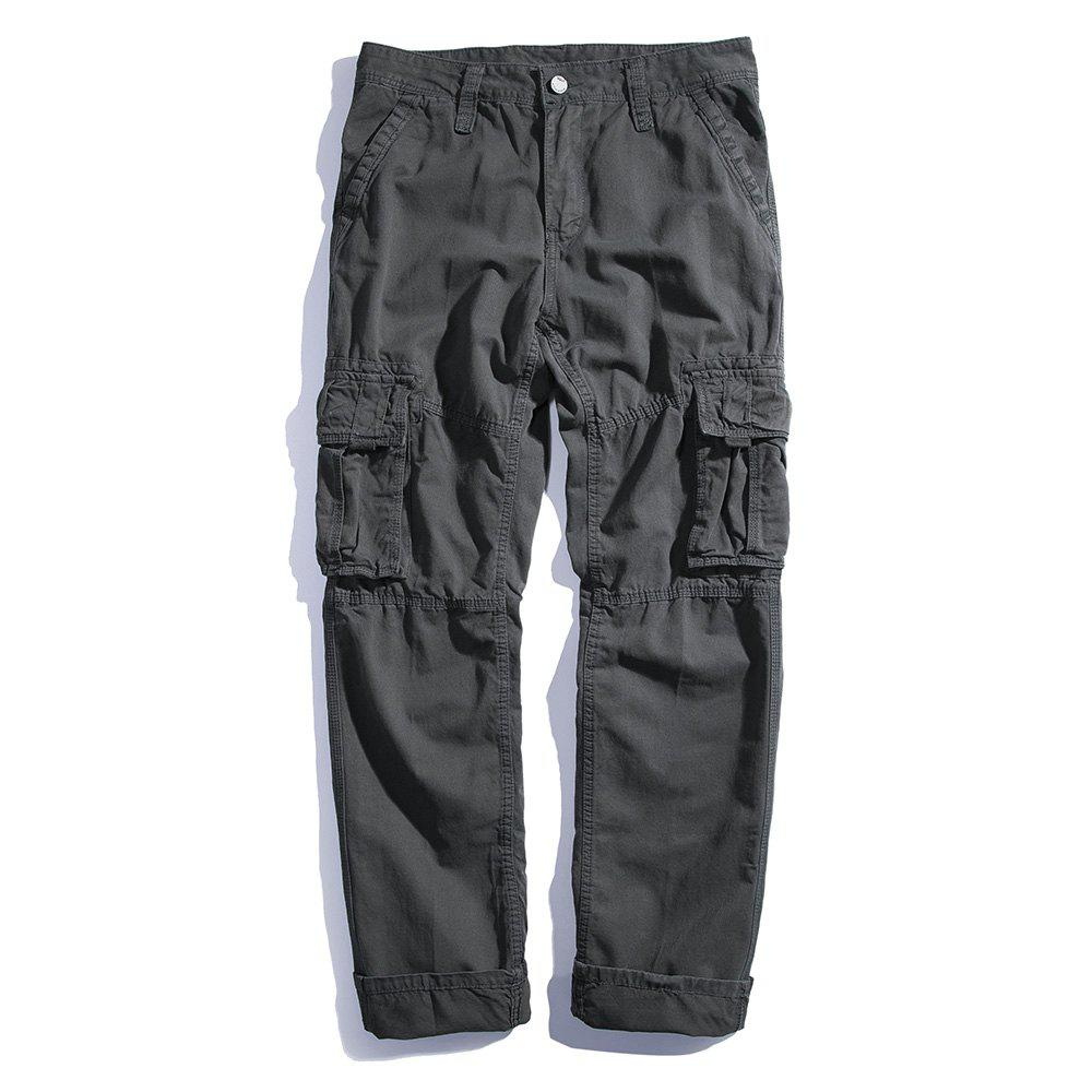 Hot Men's Loose Cotton Straight Barrel Multi Pocket Casual Wear Pants