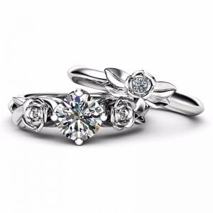 Rose Flower Diamond Couple Rings -