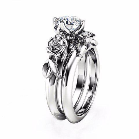 Sale Rose Flower Diamond Couple Rings