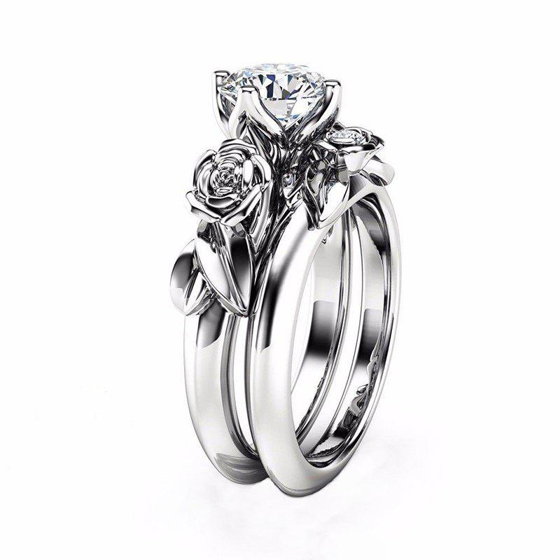 Affordable Rose Flower Diamond Couple Rings