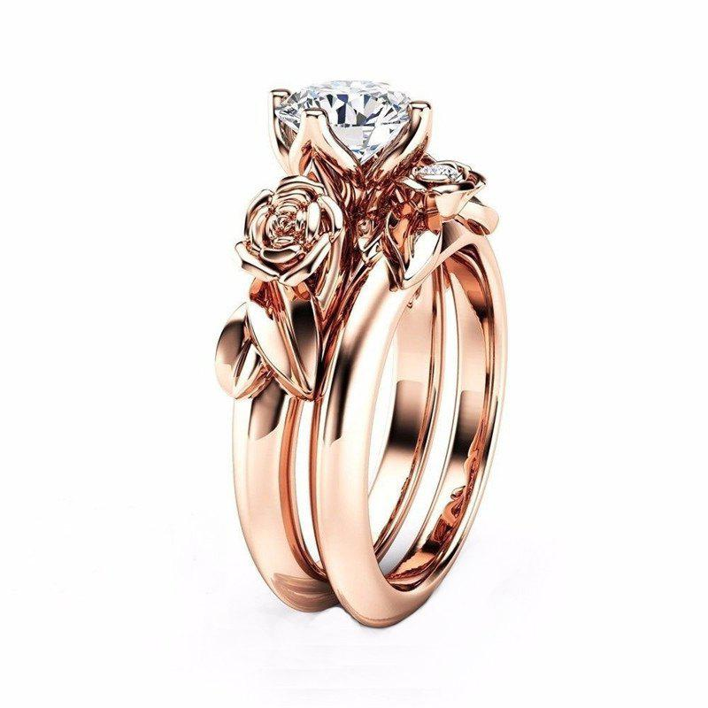 Outfits Rose Flower Diamond Couple Rings