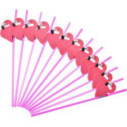 50 Pcs / Lot Lovely 3D Cute Flamingo Plastic Straws -