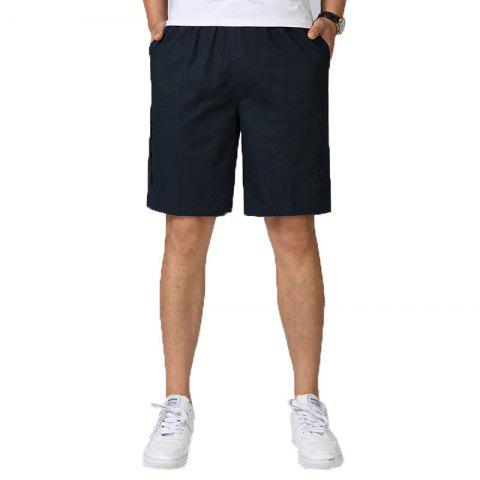 Chic Men Casual Plus Size Shorts Mid Waist Brief Design Solid Color Shorts