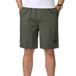 Men Casual Plus Size Shorts Mid Waist Brief Design Solid Color Shorts -