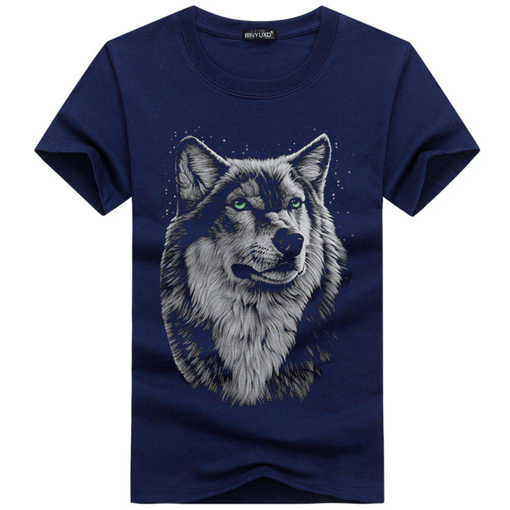 Unique Summer New 3D Wolf Head Men's  Short Sleeve T-Shirt