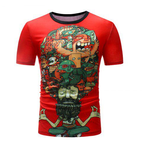 New Men Print Casual Short Sleeve T-shirt