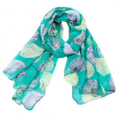 Chic Women Popular Leaf Printed Stain Scarves and Shawls Oversized