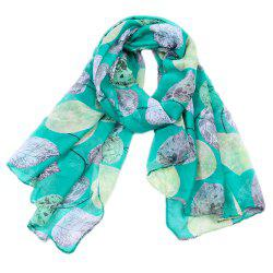 Women Popular Leaf Printed Stain Scarves and Shawls Oversized -