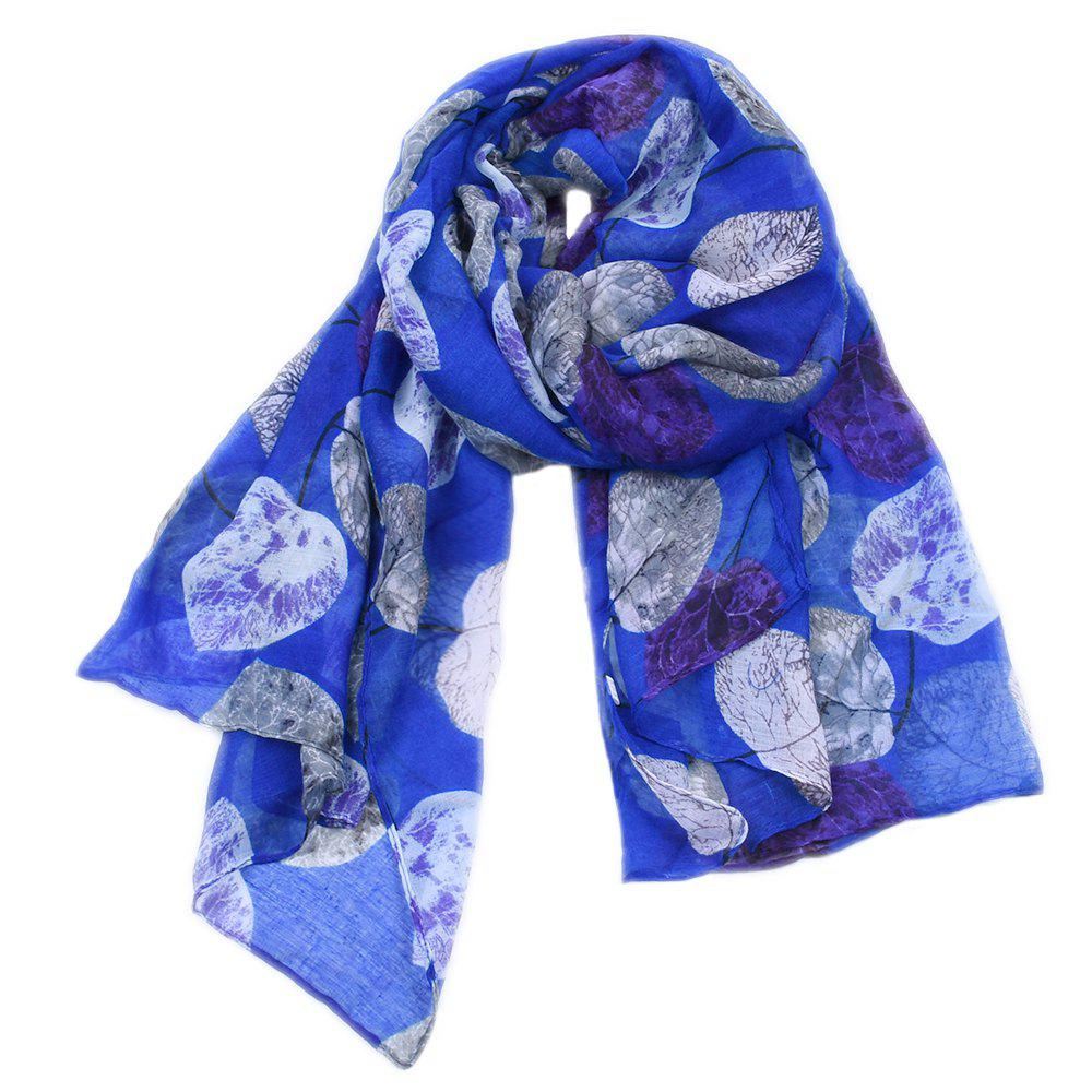 Trendy Women Popular Leaf Printed Stain Scarves and Shawls Oversized