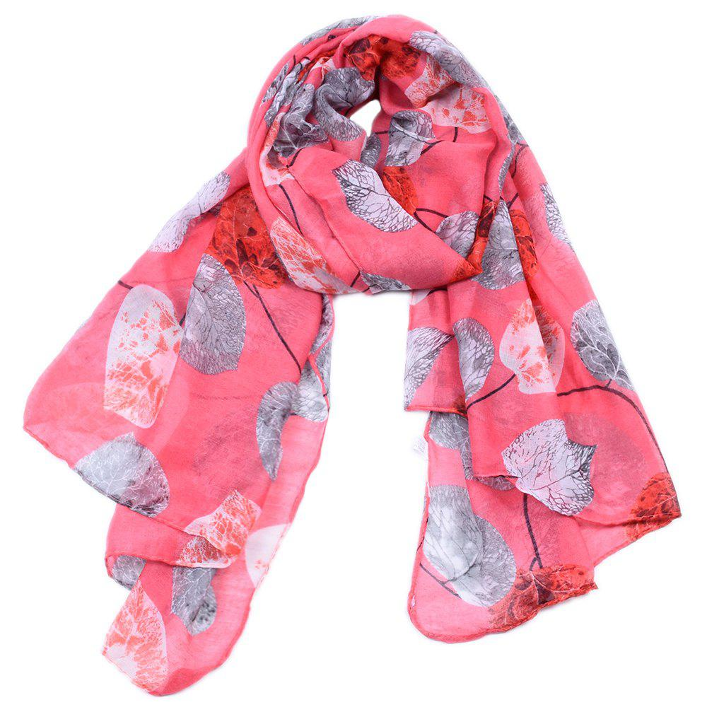 Latest Women Popular Leaf Printed Stain Scarves and Shawls Oversized