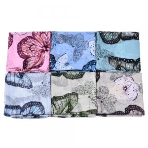 Women Popular Rose Printed Stain Scarves and Shawls Oversized -