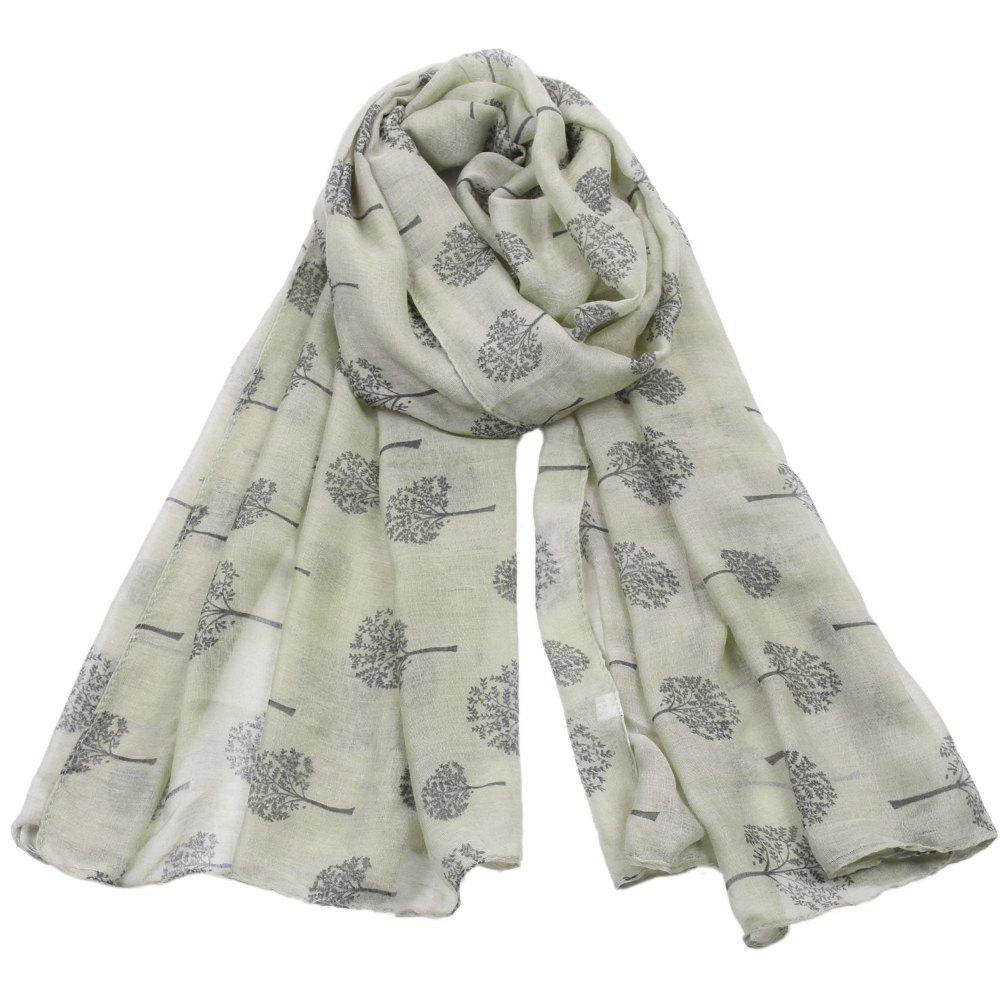 Online Women Popular Tree Forest Printed Stain Scarves and Shawls Oversized