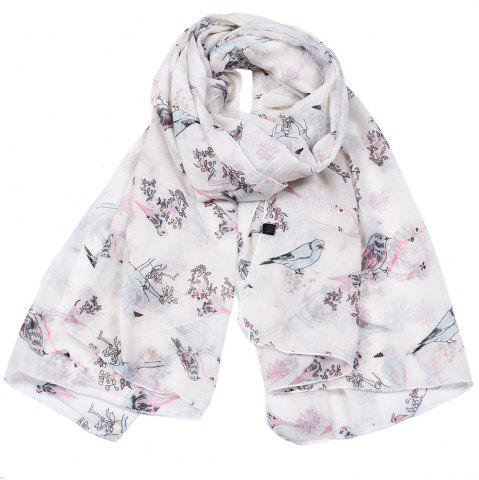 Chic Spring Fashion Lady Bird Branch Printed Viscose Scarf
