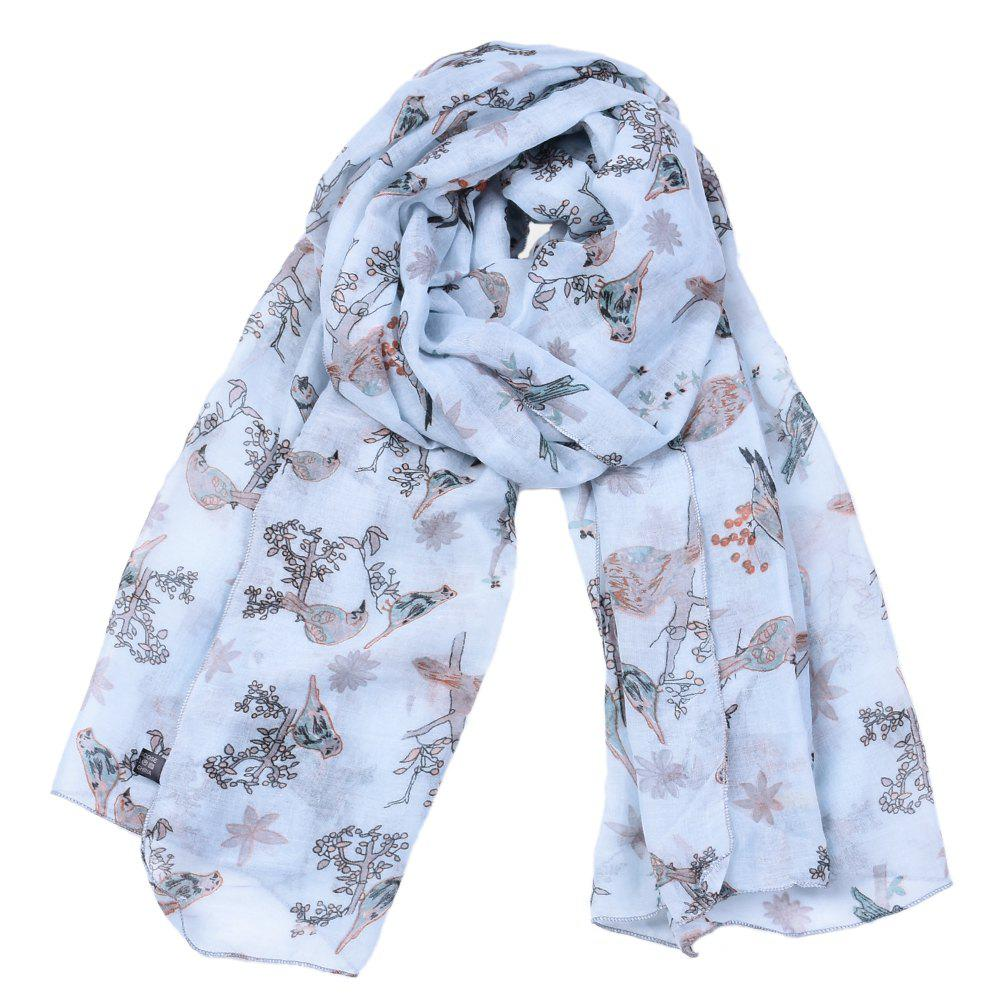 Outfits Spring Fashion Lady Bird Branch Printed Viscose Scarf