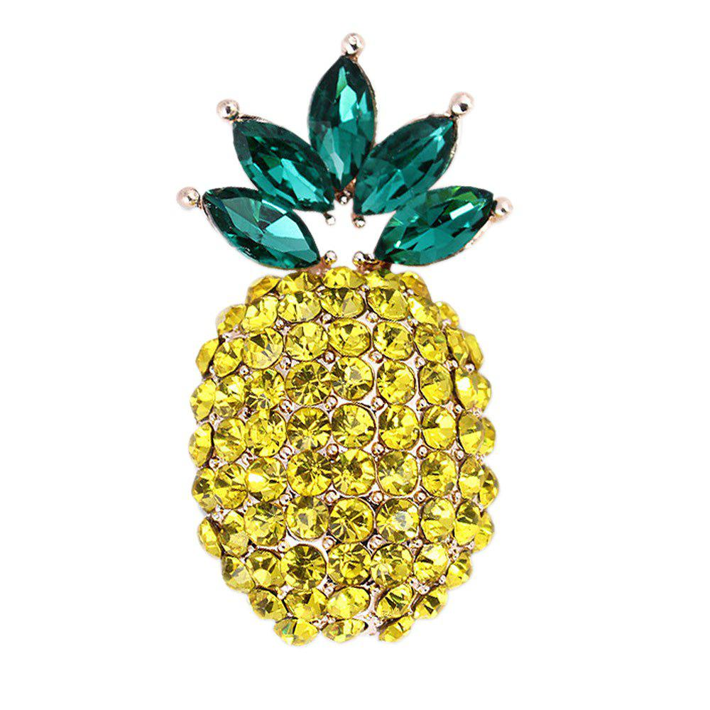 Affordable Unisex Shiny Crystal Pineapple Fruit Brooch Burnished Metal Pave Rhinestone