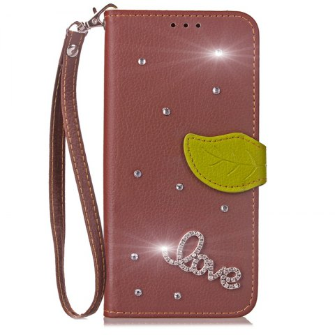 Shop Love Leaf Stick Drill Card Lanyard Pu Leather for Cubot RAINBOW 2