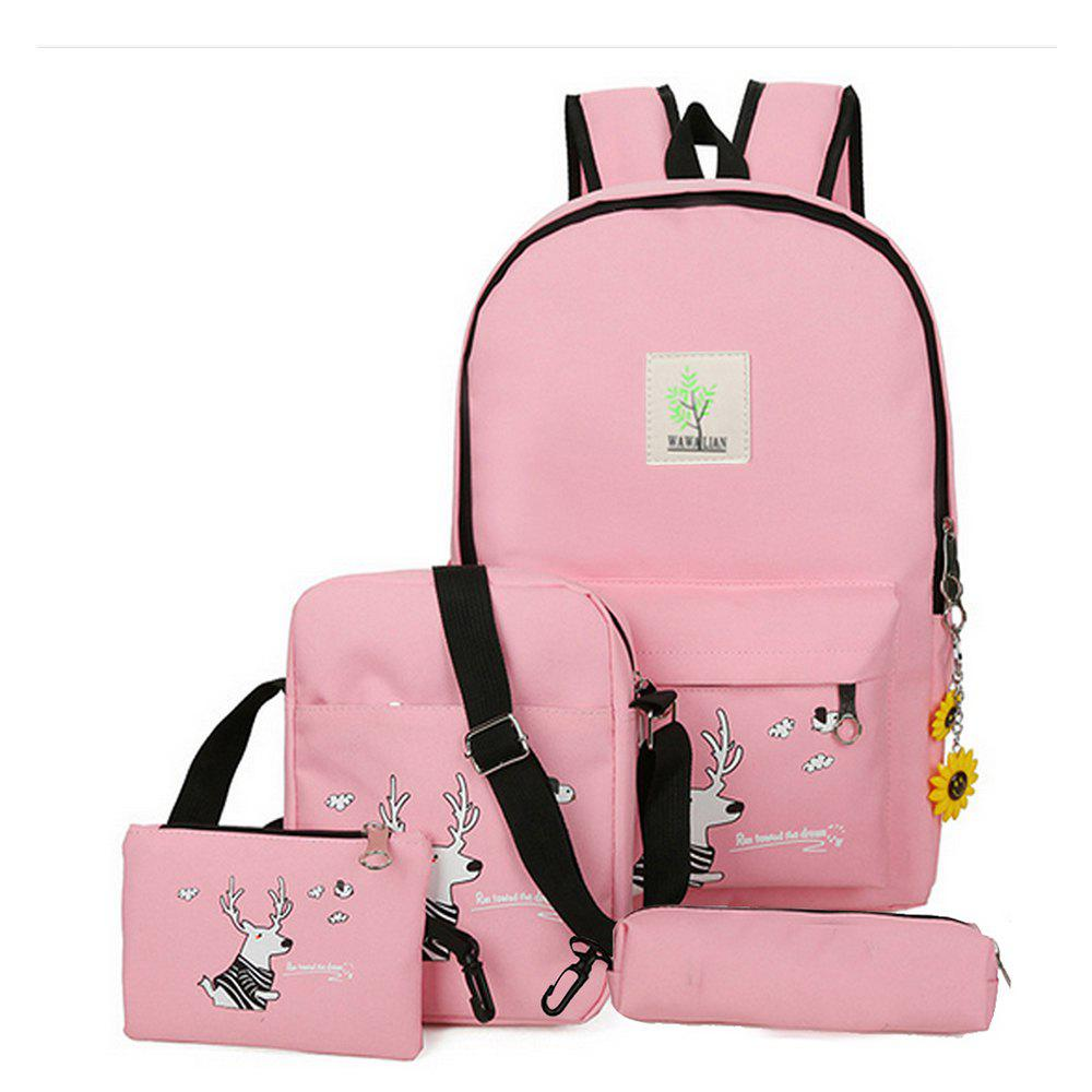 Chic Girl's Bags Set Cartoon Pattern Backpack Shoulder Bag Pencil Bag Purse Set