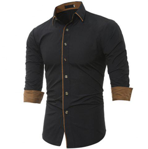 Hot New Classic Color Personality Striped Men's Casual Slim Long-Sleeved Shirt