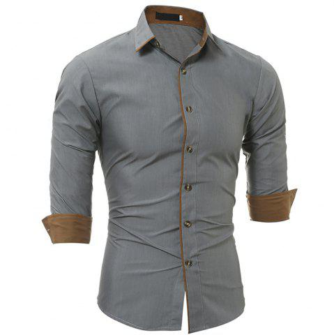 Latest New Classic Color Personality Striped Men's Casual Slim Long-Sleeved Shirt