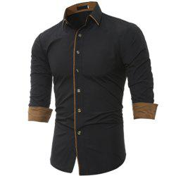 New Classic Color Personality Striped Men's Casual Slim Long-Sleeved Shirt -