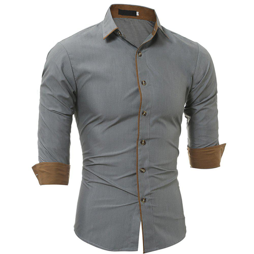 Chic New Classic Color Personality Striped Men's Casual Slim Long-Sleeved Shirt