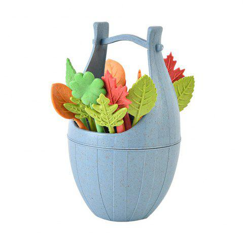 Outfits Creative Wheat Straw Cask and Leaves Design Fruit Fork