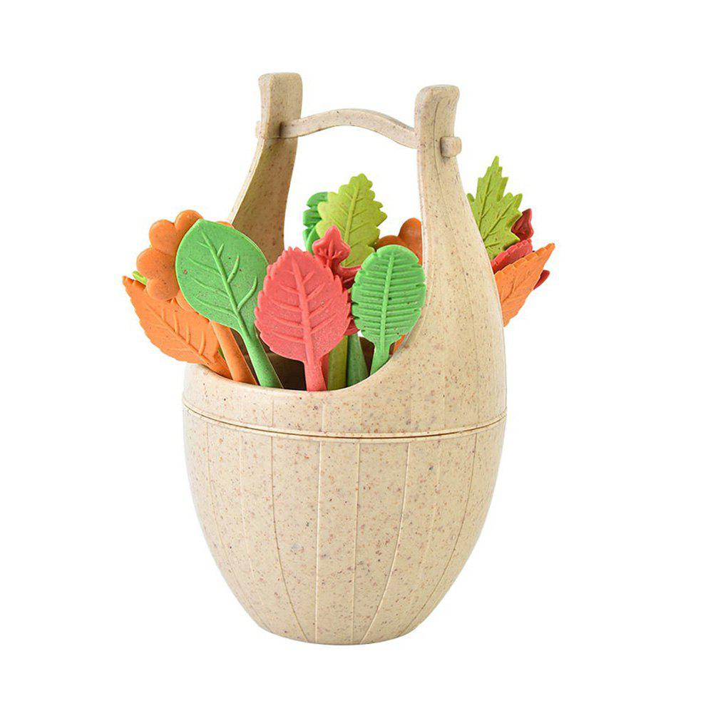 Store Creative Wheat Straw Cask and Leaves Design Fruit Fork