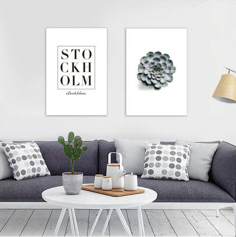 Online W344 Letters and Plants Unframed Wall Canvas Prints for Home Decorations 2PCS