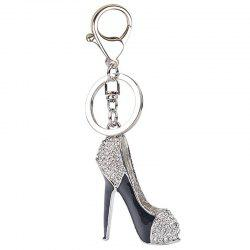 Fashion Lady High Heel Shoe Rhinestone Alloy Women Bag Car Keychain -