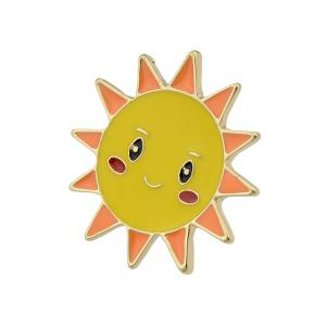 Gold-color with Colorful Enamel Sun Brooch -
