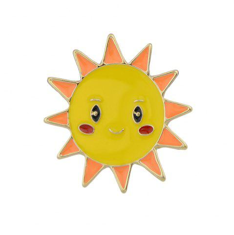 Cheap Gold-color with Colorful Enamel Sun Brooch